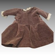 Lovely Vintage Doll Dress - Chocolate Brown Velvet with Pretty Trim