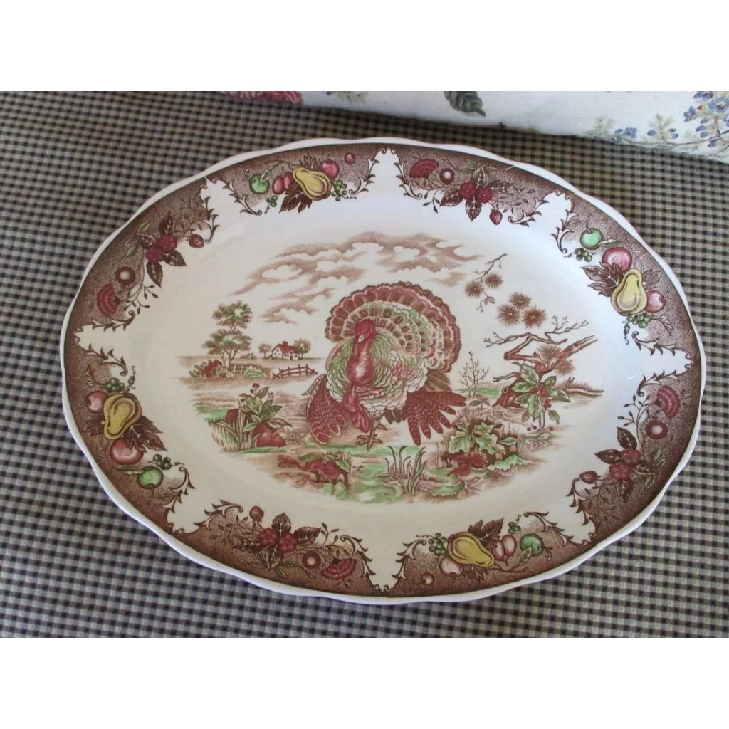 large vintage turkey platter very detailed and pretty sold ruby lane