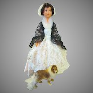 Sweet French Doll with Her Flocked Dog