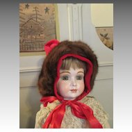 Beautiful Red Crushed Velvet Hat for your Large Bisque Head Doll