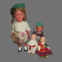 Group of 5 Vintage Hard Plastic Doll House Dolls