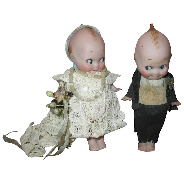 Antique Rose O Neill All Bisque Kewpie Wedding Cake Topper Dolls