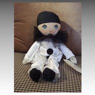 "Sad 13"" Pierrot Cloth Doll By Rosalie Pompon"