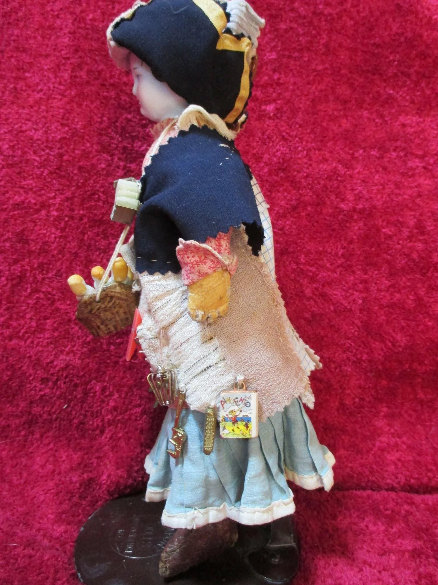 Antique China Peddler Doll Carries Basket Of Antique All