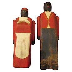 Vintage Folk Art Black Americana Wooden Dolls - Red Tag Sale Item