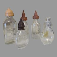 Group of 6 Glass Baby Doll Bottles - Dy Dee Baby and other Baby Dolls