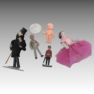 Assortment of Five Vintage and Artist Miniature Dolls