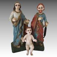 Antique Hand Carved Santos Creche Family Figures - Amazing