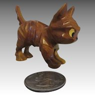 Miniature Folk Art Wood Carved Kitty For Your Antique Doll