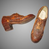 Primitive Looking Antique Child's Brown Leather Shoes For Your Antique Doll