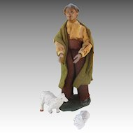 Antique Creche Figure - Shepherd with Lambs