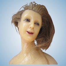 Stunning Antique Wax Half Doll with Human Hair