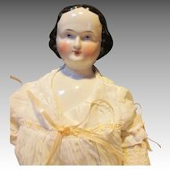 "Pretty 19"" China Head Doll with Molded Hair"