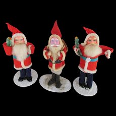 Group of 3 Vintage Santa Claus Dolls from the 1940's