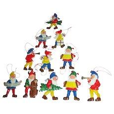 Group of Vintage Seven Dwarf Miniature Ornaments