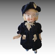 Antique German All Bisque Doll with Molded Bows