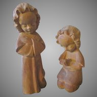 Pair of 2 Carved Wooden Angels