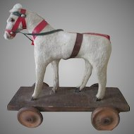 Early Pull Toy Horse on Wheels to Accompany Your Antique Doll