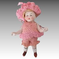 """Adorable 4.5"""" All Bisque Doll in Crochet Outfit"""