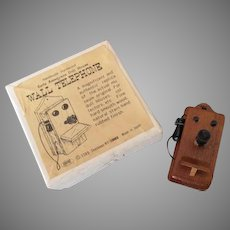 Vintage Miniature Doll House Wall Phone in Original Box