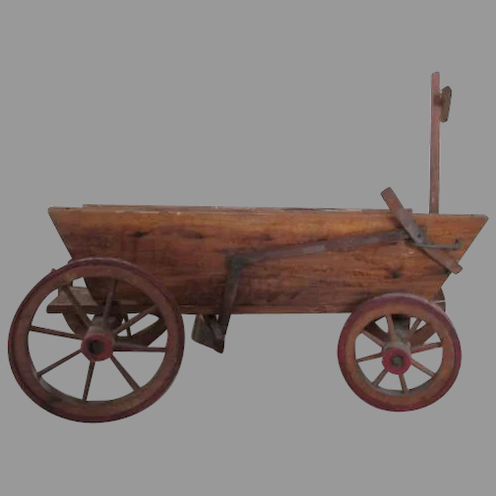Antique Wooden Wagon Used For Creche