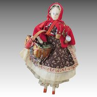 Peg Wooden Peddler Doll with Lots of Wares to Sell