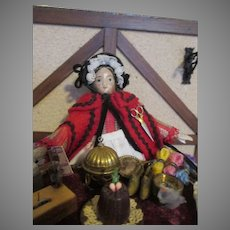 """Antique 8"""" Milliners Model Peddler Doll with Lots of Merchandise"""