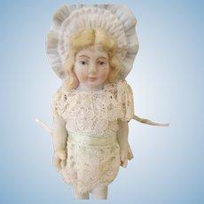 Vintage Bisque Bonnet Head Doll