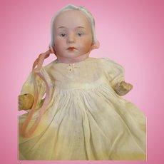 Antique Bisque Head Baby Stuart by Heubach - Bonnet Head Doll