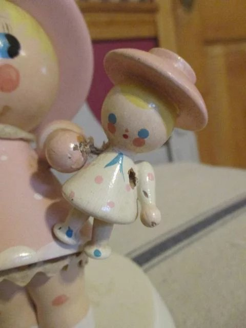 Vintage Wooden Doll Lamp For Nursery Or Child S Room