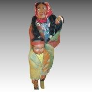 Set of 3 Vintage Skookum Dolls - Mama, Baby & Child