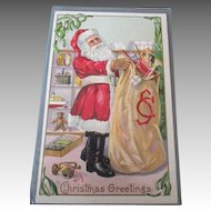 Antique Santa Post Card with a Bag full of Toys