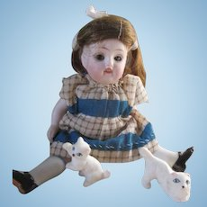 Darling Kestner 150 All Bisque Doll with 2 little kitties