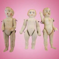 3 Antique Stone Bisque Miniature Dolls