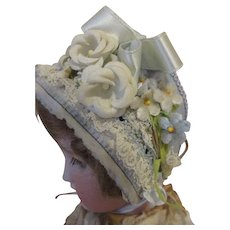 Stunning Blue Bonnet for Your Antique Doll