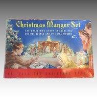Vintage Christmas Litho Nativity Creche Stable Set