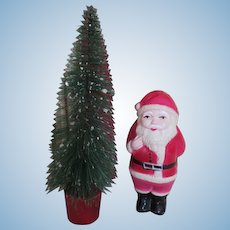 Celluloid Santa Holding Doll with Brush Bottle Tree