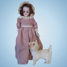 Antique Bisque Dome Head Closed Mouth Doll with her little lamb