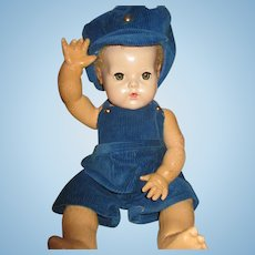 """Vintage Blue Courderoy Play Suit for Your 20"""" Vintage Doll"""