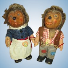 Vintage Steiff Hedgehogs - Mecki and Micki