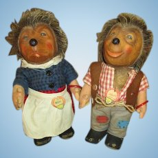 Vintage Steiff Hedgehogs - Mecki and Micki