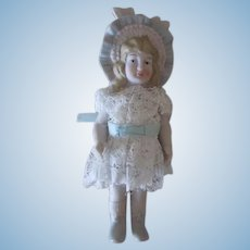 Vintage All Bisque Bonnet Doll