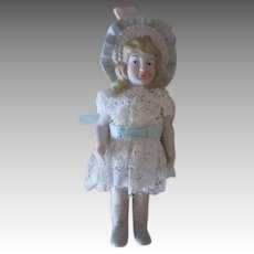 Vintage All Bisque Bonnet Doll