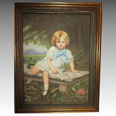 Vintage Oil Painting - Little Girl on Bench - Perfect for Doll Room