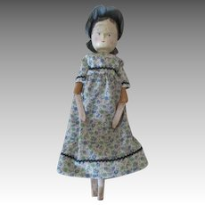 Antique Wooden Peg Doll in Pretty Dress and Bonnet