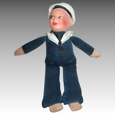 Evil Looking Sailor Doll - Composition Head and Cloth Body