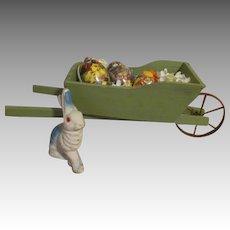 Doll Sized Wheelbarrow with Bunny and Eggs