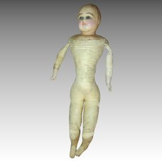 Antique Wax Over Composition Head Doll with Glass Eyes - Ready for a Restoration