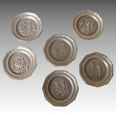 Group of 6 Pewter Doll House Plates - Each with a different engraving