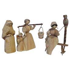 Three Vintage Corn Husk Dolls - Red Tag Sale Item